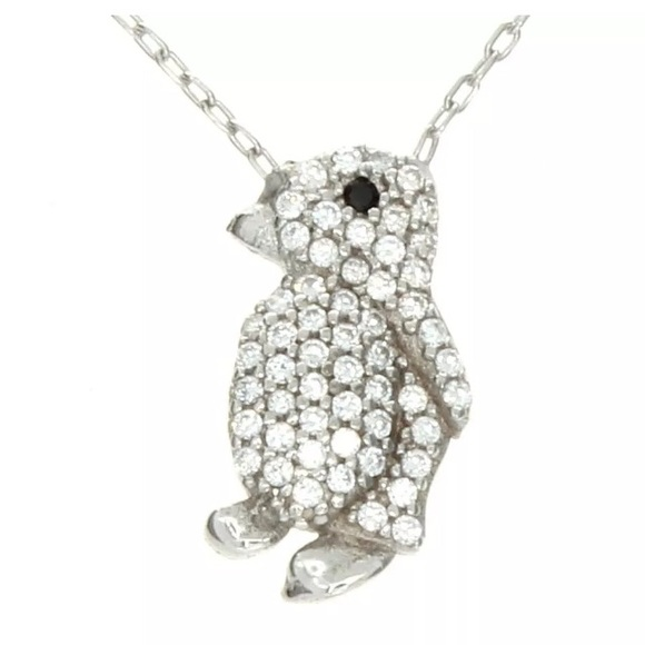 qvc Jewelry - QVC cubic zirconia penguin pendant w/ necklace
